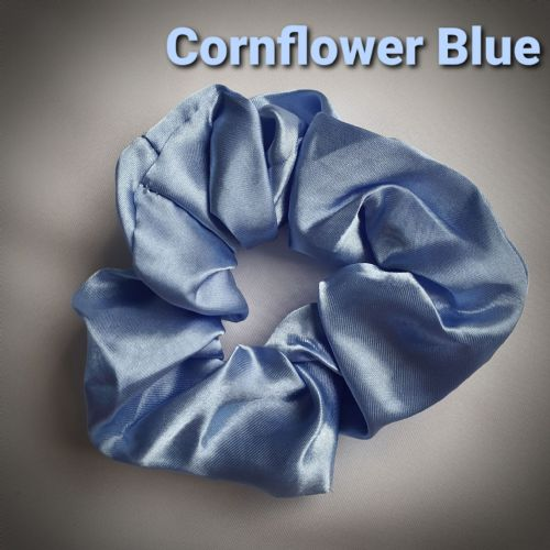 Cornflower Blue Satin Scrunchie